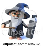3d Funny Cartoon Wizard Magician Character Holding A USB Drive