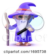 3d Wizard Looks Through Magnifying Glass