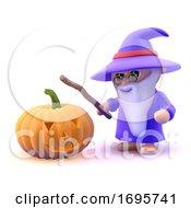 3d Wizard With Halloween Pumpkin