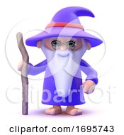 3d Wizard With His Staff
