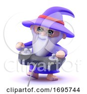Poster, Art Print Of 3d Wizard Playing Videogames