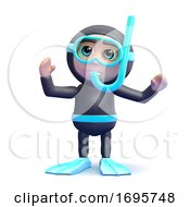 3d Snorkel Diver With Arms Up
