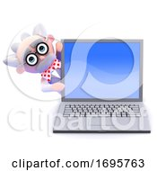 Poster, Art Print Of 3d Mad Scientist Behind A Laptop Pc