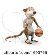 Poster, Art Print Of 3d Meerkat Dribbles The Basketball