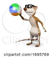 3d Meerkat Plays With A Beachball