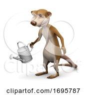 Poster, Art Print Of 3d Meerkat Watering The Garden