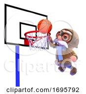 Poster, Art Print Of 3d Pilot Plays Basketball