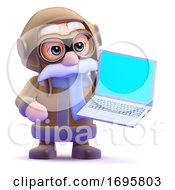 Poster, Art Print Of 3d Airline Pilot With Laptop
