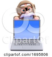 Poster, Art Print Of 3d Old Pilot Looks Over Laptop Pc