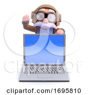 Poster, Art Print Of 3d Airline Pilot Waves Behind Laptop
