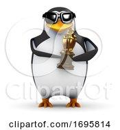 3d Penguin Holding A Trophy