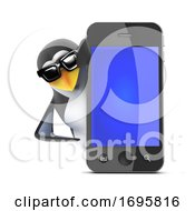 Poster, Art Print Of 3d Penguin With A Cell Phone