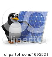 Poster, Art Print Of 3d Penguin With A Solar Panel