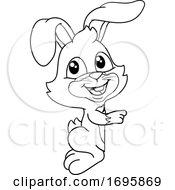 Easter Bunny Rabbit Peeking Pointing Sign Cartoon