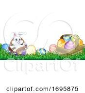 Poster, Art Print Of Easter Bunny Rabbit Chocolate Eggs Cartoon