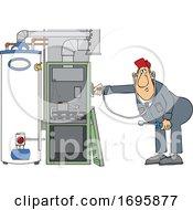 Cartoon HVAC Worker Holding A Stethoscope Up To A Furnace by djart