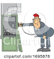 Cartoon HVAC Worker Holding A Stethoscope Up To A Furnace