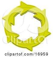 Environmental Clipart Illustration Image Of A Yellow Circle Of Arrows Moving In A Clockwise Motion Symbolizing Recycling Materials Or Energy