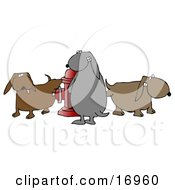 Animal Clipart Illustration Image Of A Group Of Bad And Mischievous Brown And Gray Dogs Pissing On A Red Fire Hydrant