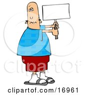 People Clipart Illustration Image Of A Patriotic Bald Caucasian Man In A Blue Shirt With An American Flag Pattern Holding A Blank White Sign by Dennis Cox