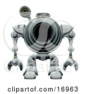 Technology Clipart Illustration Image Of A Webcam Robot Standing Still And Facing Front