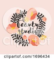 Vector Logo Design Template In Simple Style Of Floral Frame With Coral Color Peony And Copy Space For Text Elegant Emblem For Fashion Boutique Beauty Studio Or Jewelry Salon