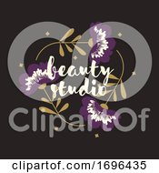 Vector Logo Design Template In Modern Style Of Triangular Floral Frame With Purple Flowers And Copy Space For Text Elegant Emblem For Fashion Boutique Beauty Studio Or Jewelry Salon