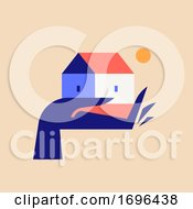 Vector Illustration In Trendy Minimal Style Of Elegant Hand Holding Cute Small House At Afternoon Sun