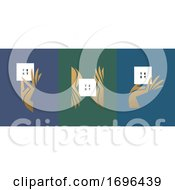 Vector Illustration In Trendy Minimal Style Of Elegant Hand Holding White Blank Paper Card With Big Copy Space For Any Logo Or Text