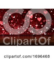 3D Valentines Day Background With Wooden Table Looking Out To A Bokeh Hearts Light Design