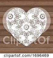 Poster, Art Print Of Decorative Cutout Heart On Wooden Texture