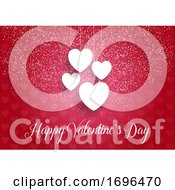 Poster, Art Print Of Decorative Valentines Day Background With Hanging Hearts