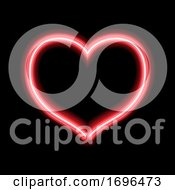 Poster, Art Print Of Glowing Neon Heart Design For Valentines Day