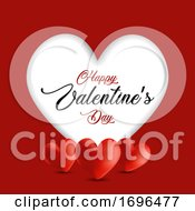 Poster, Art Print Of Valentines Day Background With Cutout Heart