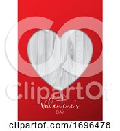 Valentines Day Background With Cutout Heart On Wooden Texture