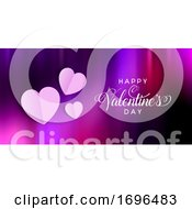 Poster, Art Print Of Valentines Day Banner With Folded Hearts Design