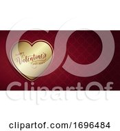 Poster, Art Print Of Valentines Day Banner With Gold Heart