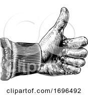 Poster, Art Print Of Hand Thumb Up Sign Vintage Retro Woodcut