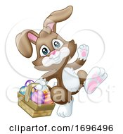 Poster, Art Print Of Easter Bunny Rabbit Eggs Basket Cartoon