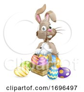 Poster, Art Print Of Easter Bunny Eggs Basket Cartoon