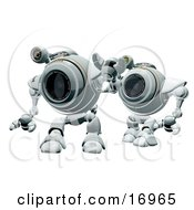Technology Clipart Illustration Image Of Two Robotic Webcams Standing In Line