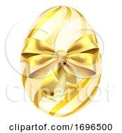 Poster, Art Print Of Easter Egg Gold Bow Ribbon Design