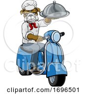Bulldog Chef Scooter Delivery Mascot