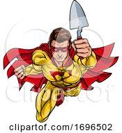 Poster, Art Print Of Super Bricklayer Builder Superhero Holding Trowel