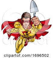 Super Bricklayer Builder Superhero Holding Trowel