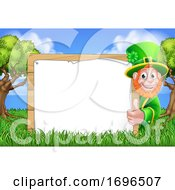 Leprechaun St Patricks Day Sign Cartoon Scene