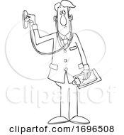 Cartoon Male Doctor Using A Stethoscope