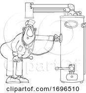 Cartoon Male Plumber Diagnosing A Water Heater