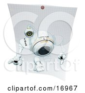 Technology Clipart Illustration Image Of A Robotic Webcam Stepping Out Of A Drawing On Graph Paper