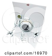 Technology Clipart Illustration Image Of A Robotic Webcam Robot Stepping Out Of A Drawing On Graph Paper